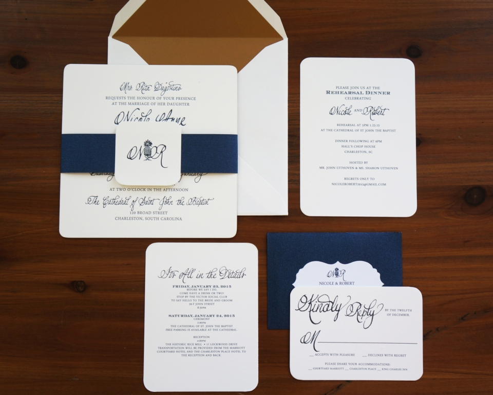 navy and gold wedding invitation dodeline design, Wedding invitations