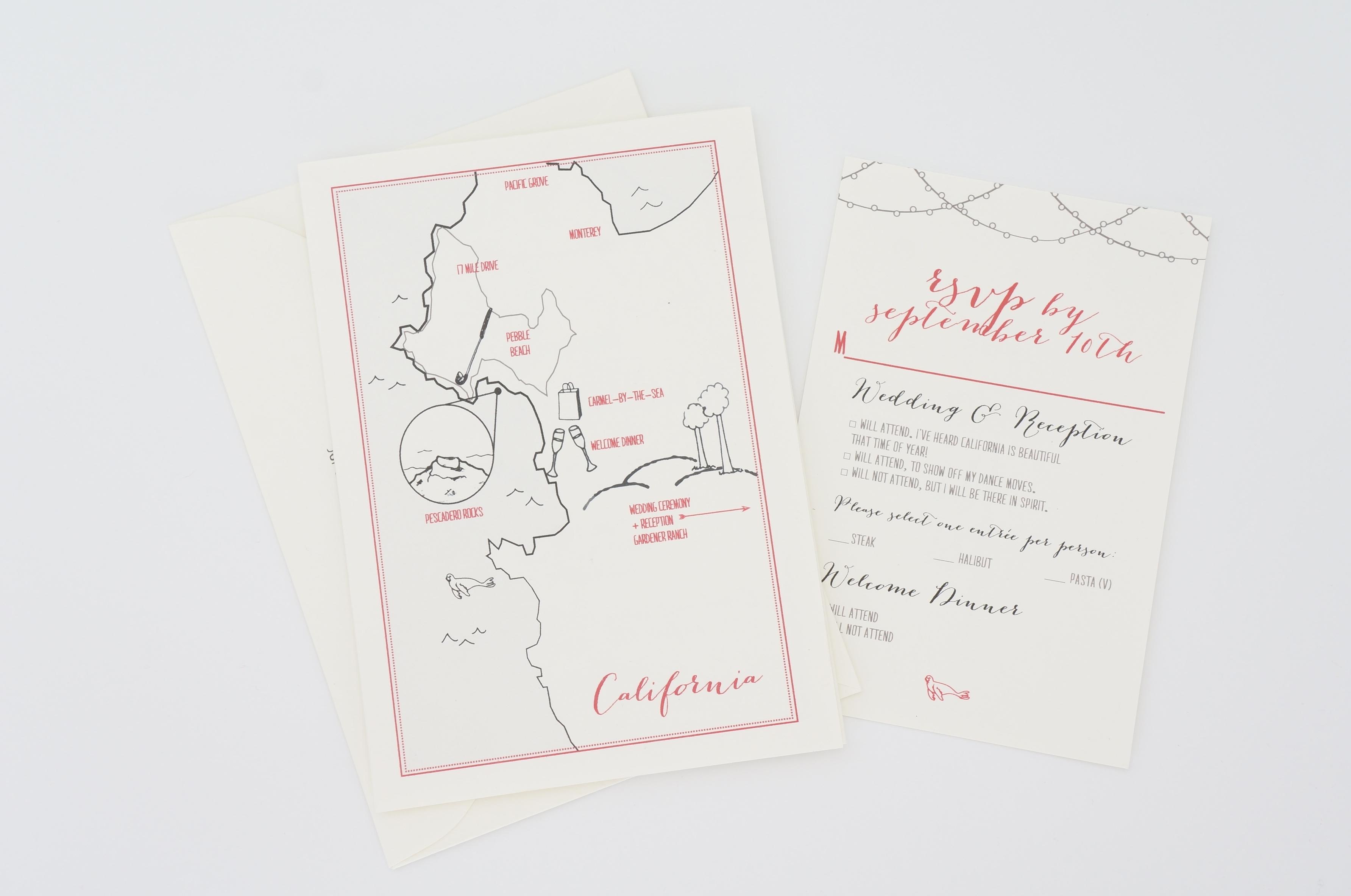 trifold wedding invitation by dodeline california wedding
