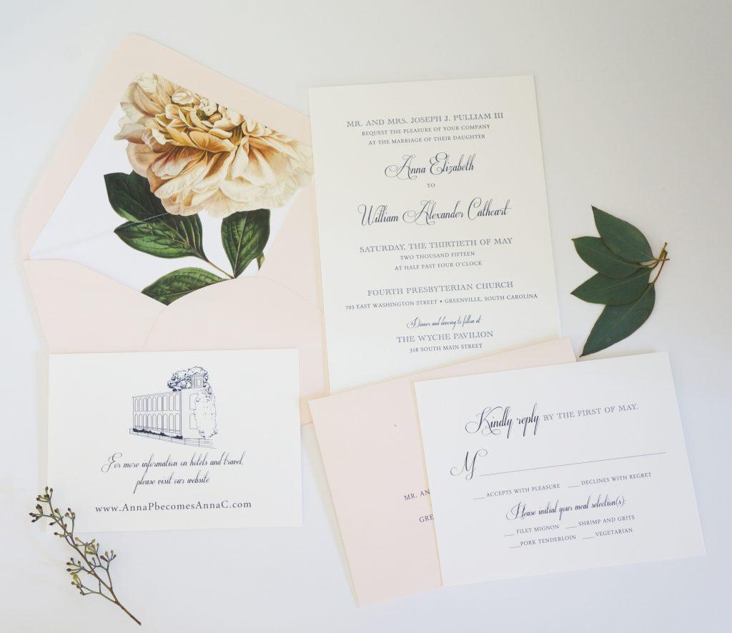 Greenville wedding invitation SC by Dodeline Design