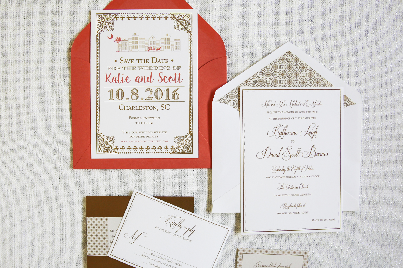 Coral Wedding Invitation Gold Dodeline Design Charleston SC