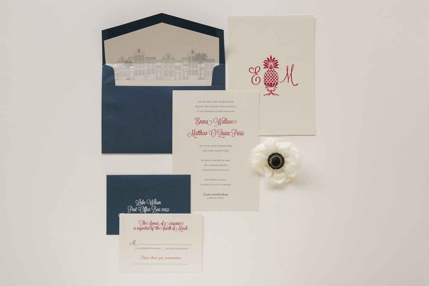 pineapple monogram invitation