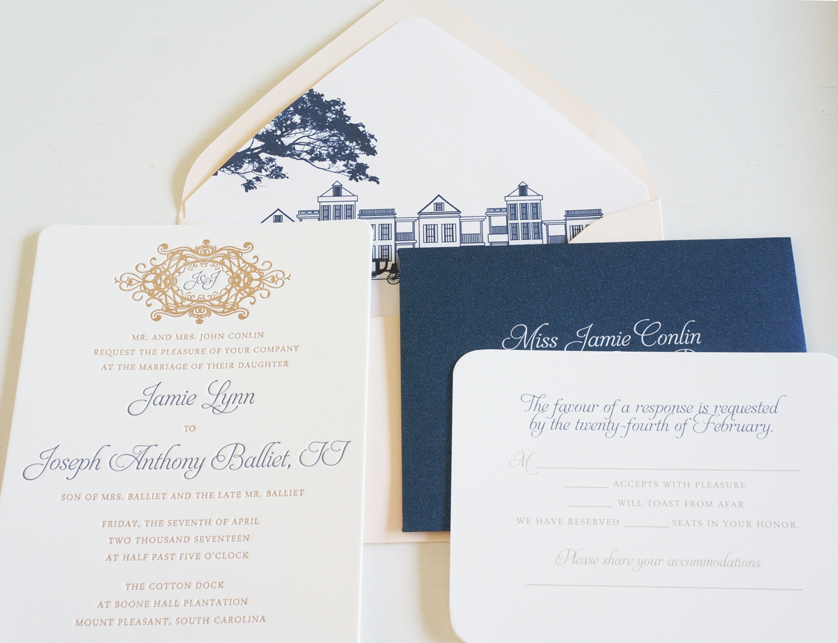 Cotton dock wedding invitation wedding invitations charleston a combination of navy blush and gold pairs together beautifully a custom monogram crest design personalizes the suite but still keeps the invite stopboris