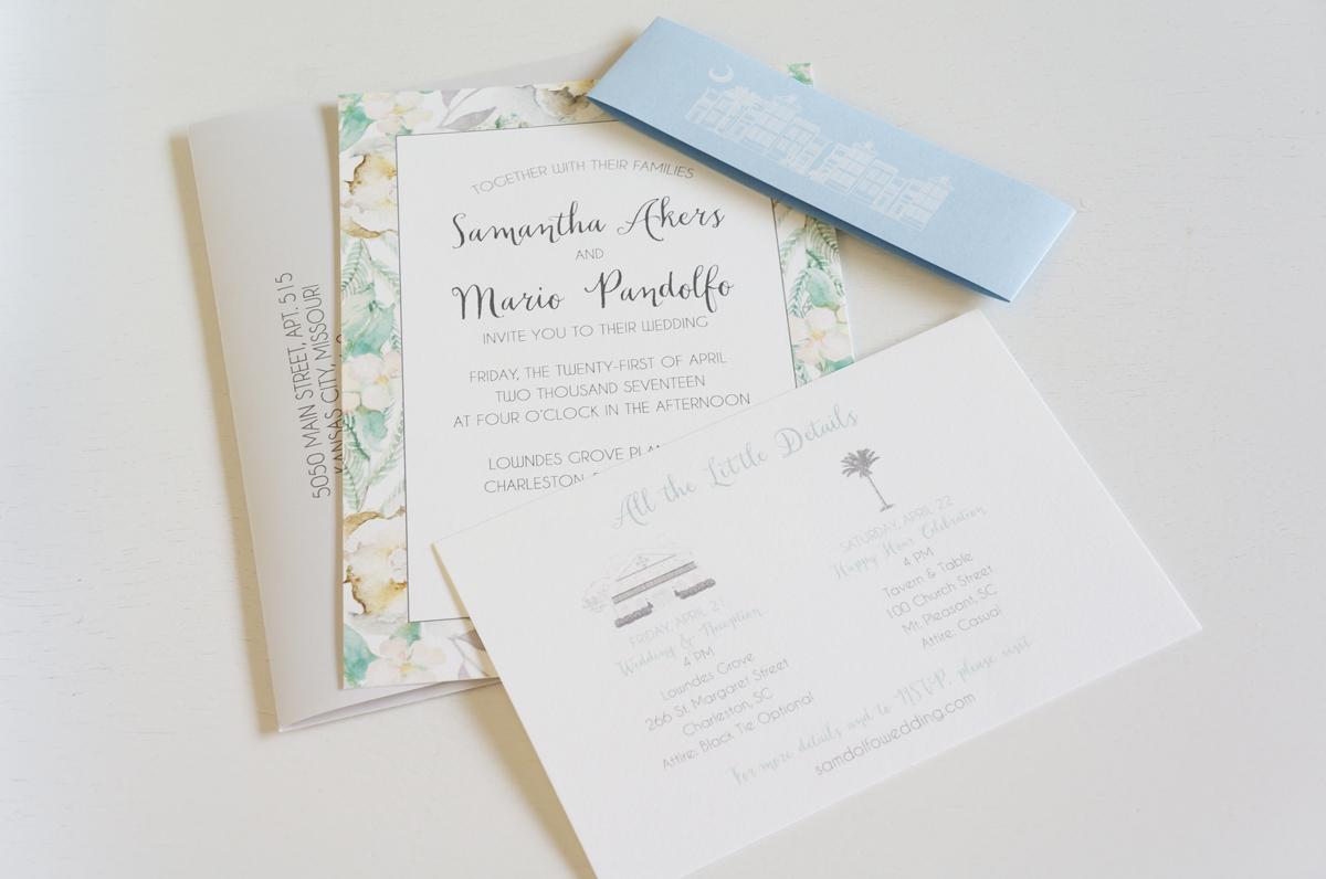floral wedding invitation - Wedding Invitations, Charleston graphic ...