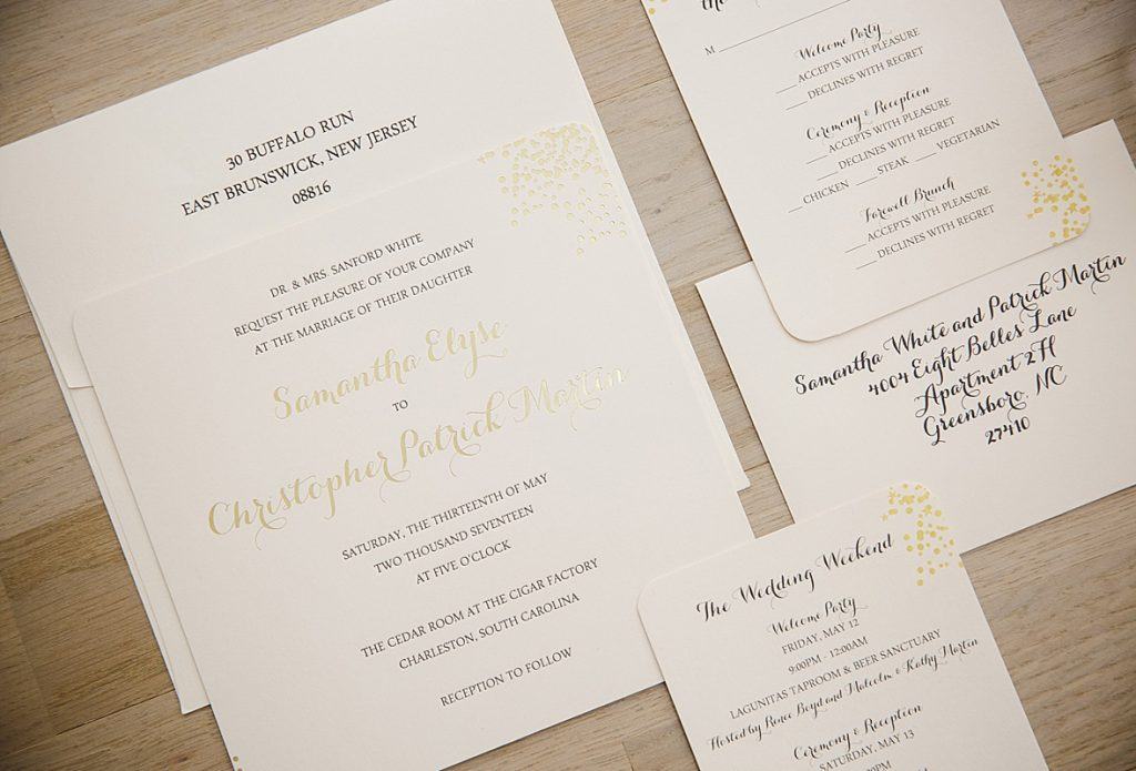 gold confetti wedding invitation - Wedding Invitations, Charleston ...