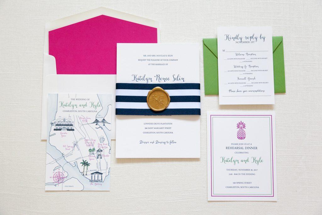 colorful preppy wedding invitation - Wedding Invitations, Charleston ...