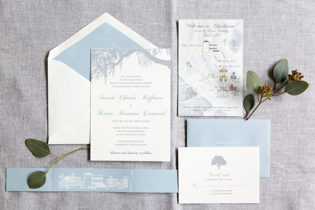 Blue william aiken wedding invitation dodeline wedding this blue william aiken wedding invitation is classic with a twist timeless typefaces are paired with oak tree design elements to bring in some charleston stopboris Choice Image