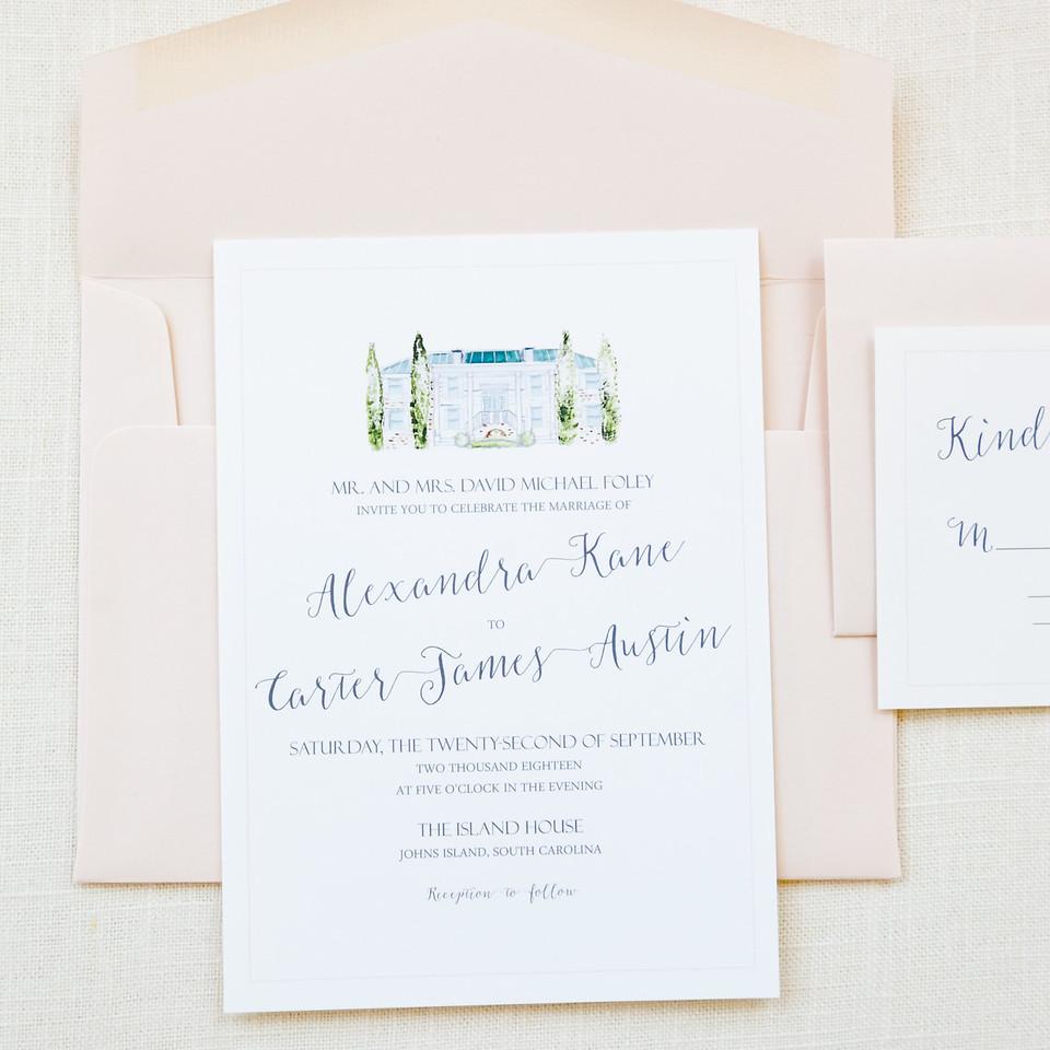 Watercolor Island House Invitation Wedding Invitations